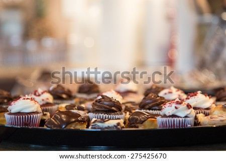 beautiful chocolate desert tray with lots of soft background for copy space. - stock photo