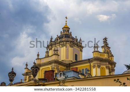 beautiful christian castle on a blue sky background - stock photo