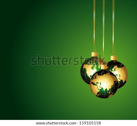 Beautiful christmas background with gold world baubles. - stock photo