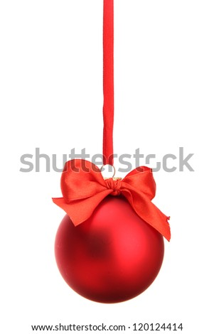 beautiful christmas ball, isolated on white - stock photo