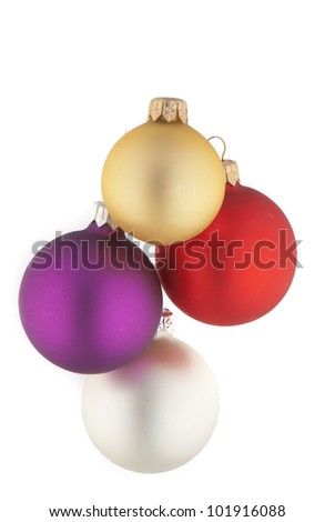 beautiful  christmas ball on white  isolated  background.  Studio photography