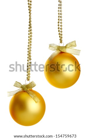 beautiful christmas balls, isolated on white