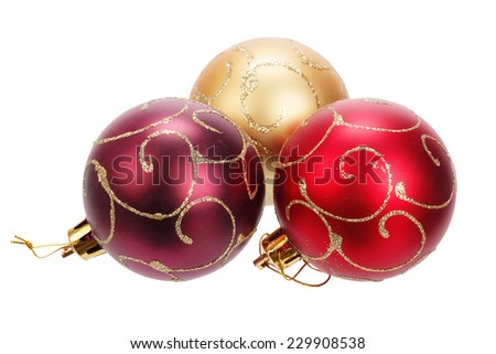 Beautiful christmas balls isolated on white background - stock photo