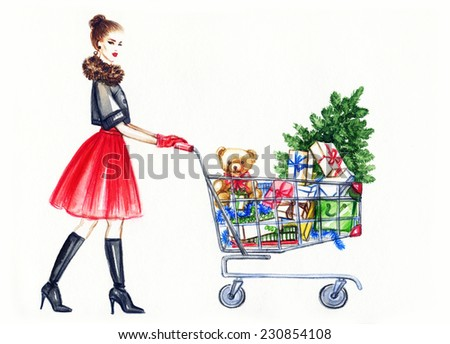 beautiful Christmas card .watercolor illustration of lady  with shopping cart  - stock photo