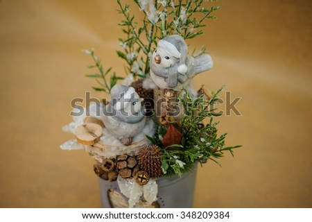 Beautiful Christmas composition with small birds close up  - stock photo
