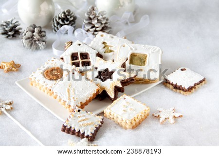 Beautiful Christmas cookies decorated with white frosting