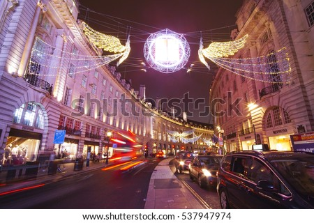 Beautiful Christmas decoration at Piccadilly Circus in London - LONDON / ENGLAND - DECEMBER 10, 2016