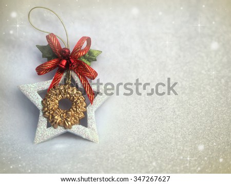 Beautiful christmas decoration with snow for background