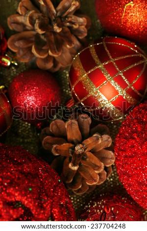 Beautiful Christmas decorations background - stock photo
