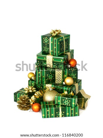 beautiful Christmas gifts isolated on white background