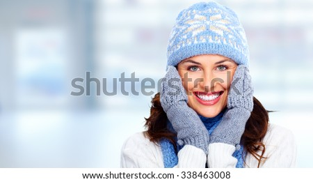 Beautiful christmas girl portrait over winter banner background. - stock photo