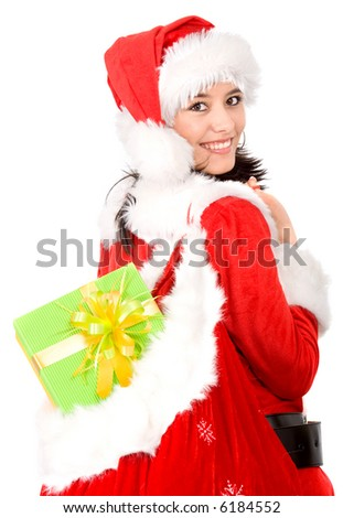 beautiful christmas girl with a gift sack isolated over a white background