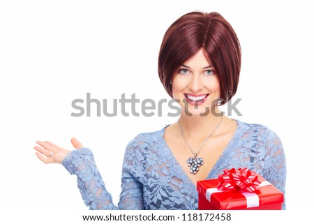 Beautiful christmas girl with  gift isolated on white background.