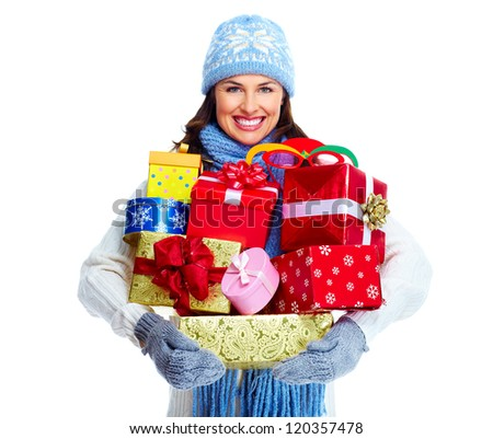 Beautiful christmas girl with gifts isolated on white background. - stock photo
