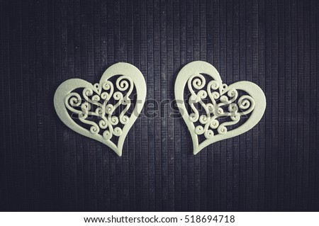 Beautiful Christmas hearts on a black background