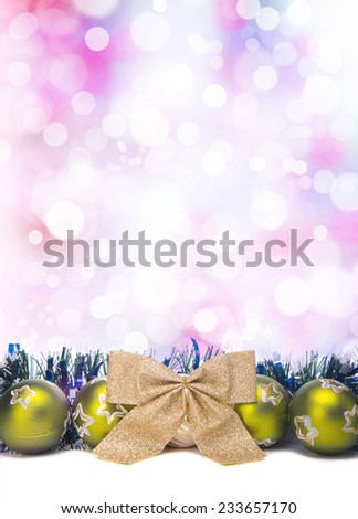 Beautiful Christmas holiday decorations. New Year's Eve. Festive Christmas decorations. Christmas background