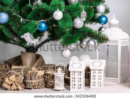 Beautiful Christmas living room with tree - stock photo