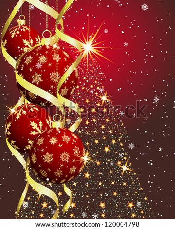 Beautiful Christmas (New Year) card. Raster version.