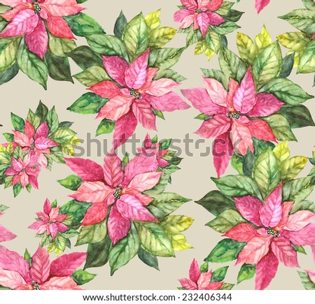 Beautiful Christmas Poinsettia seamless pattern. Watercolor. - stock photo