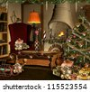 Beautiful christmas scenery - stock photo
