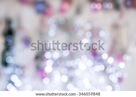 Beautiful Christmas Silver Lights. Defocused background - stock photo