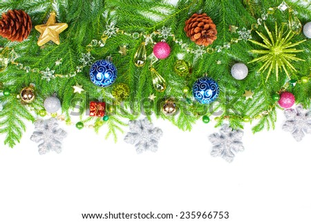 Beautiful Christmas Tree decoration isolated white background