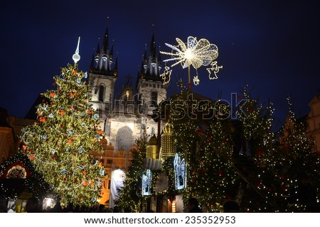 Beautiful christmas tree in the middle of the Old Town Square in Prague