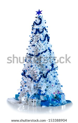 Beautiful christmas tree isolated on white background - stock photo