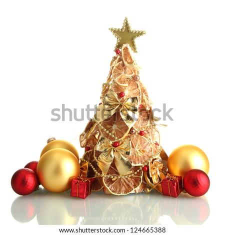 beautiful christmas tree of dry lemons with decor, isolated on white - stock photo