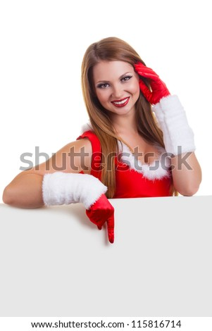 Beautiful christmas woman holding empty board isolated on white background
