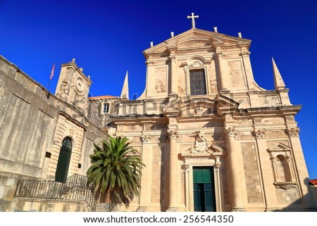 Beautiful church building with Baroque architecture, Dubrovnik, Croatia