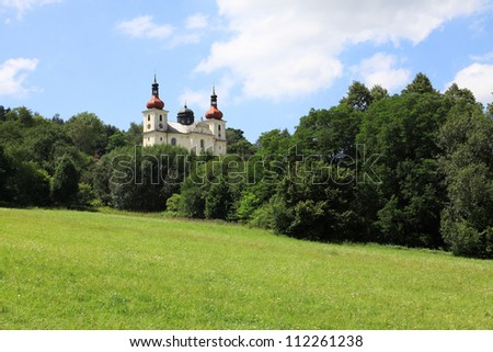 Beautiful Church Dobra Voda from the summer Mountains in southern Czech