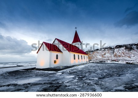 Beautiful  church in Iceland - stock photo