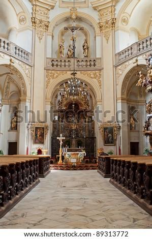 Beautiful church interior, picture taken in Wambierzyce, Poland. - stock photo