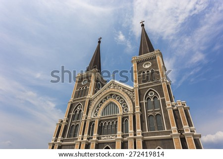 beautiful church of christ with sky blue in Chantaburi Thailand - stock photo