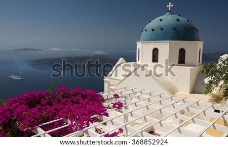 Beautiful church on the Greek island of Santorini - stock photo