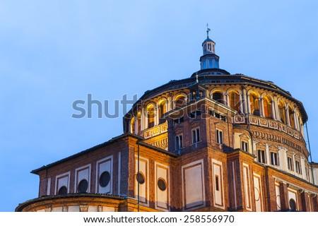 """Beautiful church Santa Maria delle Grazie is the place where can be found famous fresco of Leonardo da Vinci """"Last Supper"""". Milan, Italy - stock photo"""