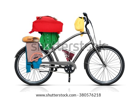 Beautiful city bicycle gray color with thick wheels - stock photo