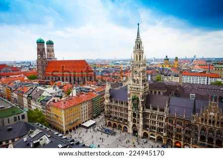 beautiful city centre view of Marienplatz, New Town Hall (Neues Rathaus), Glockenspiel, Frauenkirche with sky in Munich, (Bavaria, Germany) - stock photo