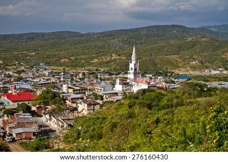 Beautiful city of Montecristi in the coast of Ecuador, famous for the panama hats - stock photo