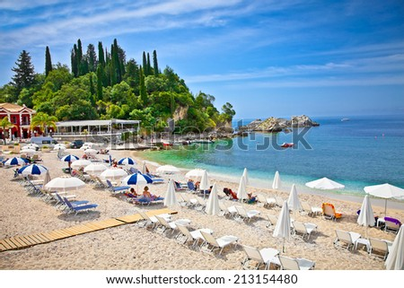 Beautiful city sand beach on Ionian Sea in Parga, Greece. - stock photo
