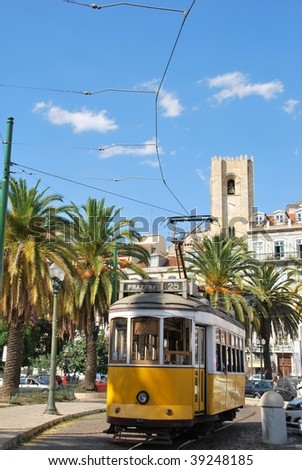beautiful city sight of the capital of Portugal with yellow typical tram, Lisbon - stock photo