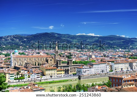 Beautiful city view at sunny summer day, Florence, Italy - stock photo