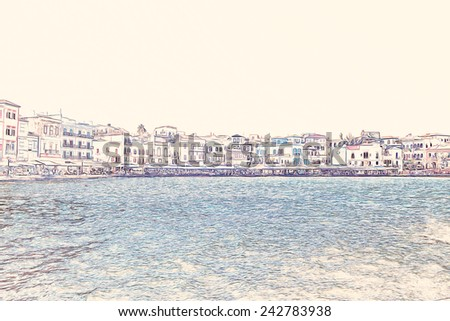 Beautiful cityscape and bay in city of Chania on island of Crete, Greece - stock photo