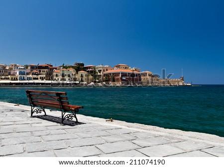 Beautiful cityscape and promenade in city of Chania on island of Crete, Greece  - stock photo