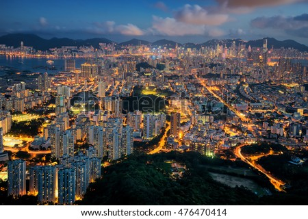 Beautiful cityscape from top view of Mountain