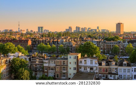 Beautiful cityscape looking over the city of Amsterdam in the Netherlands - stock photo