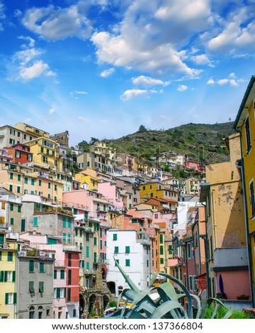 Beautiful cityscape of Cinque Terre with colourful homes, Italy. - stock photo