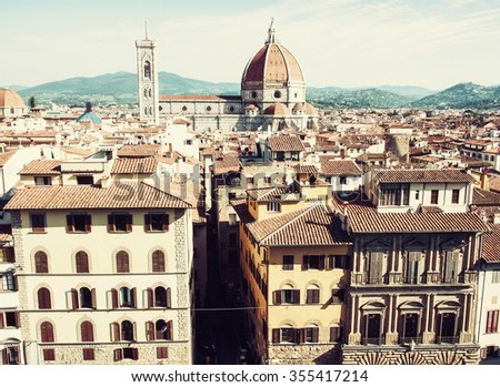Beautiful cityscape of Florence with cathedral Santa Maria del Fiore, Tuscany, Italy. Travel destination. Architectural scene. - stock photo