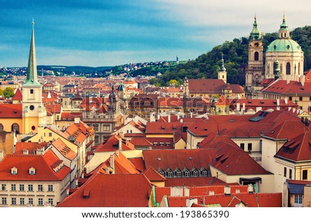 Beautiful cityscape of Prague with cathedral of St. Nicholas - stock photo